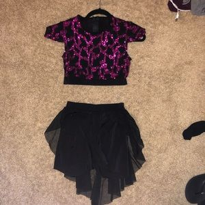 Kellé Two Piece Dance Costume Pink and Black
